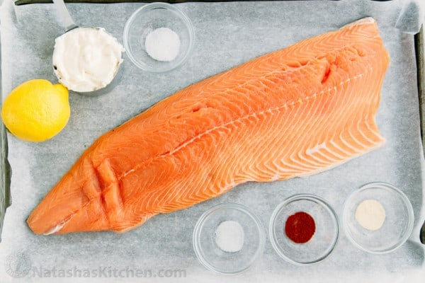 This oven baked salmon recipe has a well-seasoned, tangy crust and it's so easy to make. The glaze seals in the wonderful juices in this oven baked salmon.
