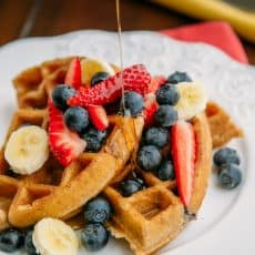 These whole wheat and blueberry waffles are really really good! We love them with real maple syrup and raspberry sauce and pile on all kinds of fresh fruit.