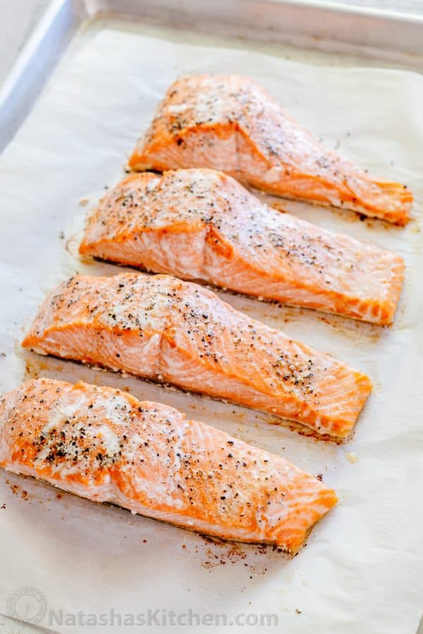 Oven Baked Salmon with Lemon Cream Sauce