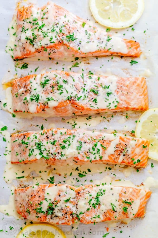 Oven Baked Salmon With Flavorful And Simple Lemon Cream Sauce Lemon Beurre Blanc Will