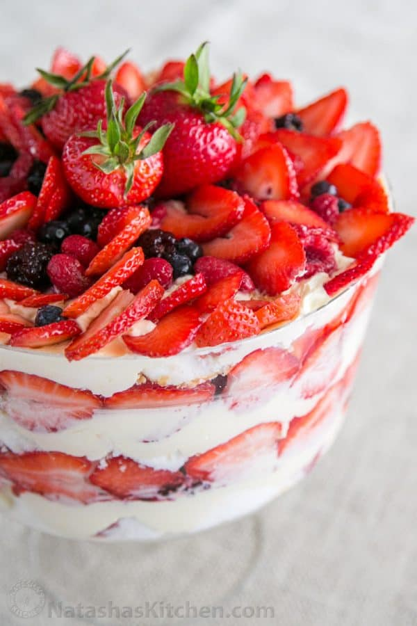 A close up of a mixed berry and angel food trifle