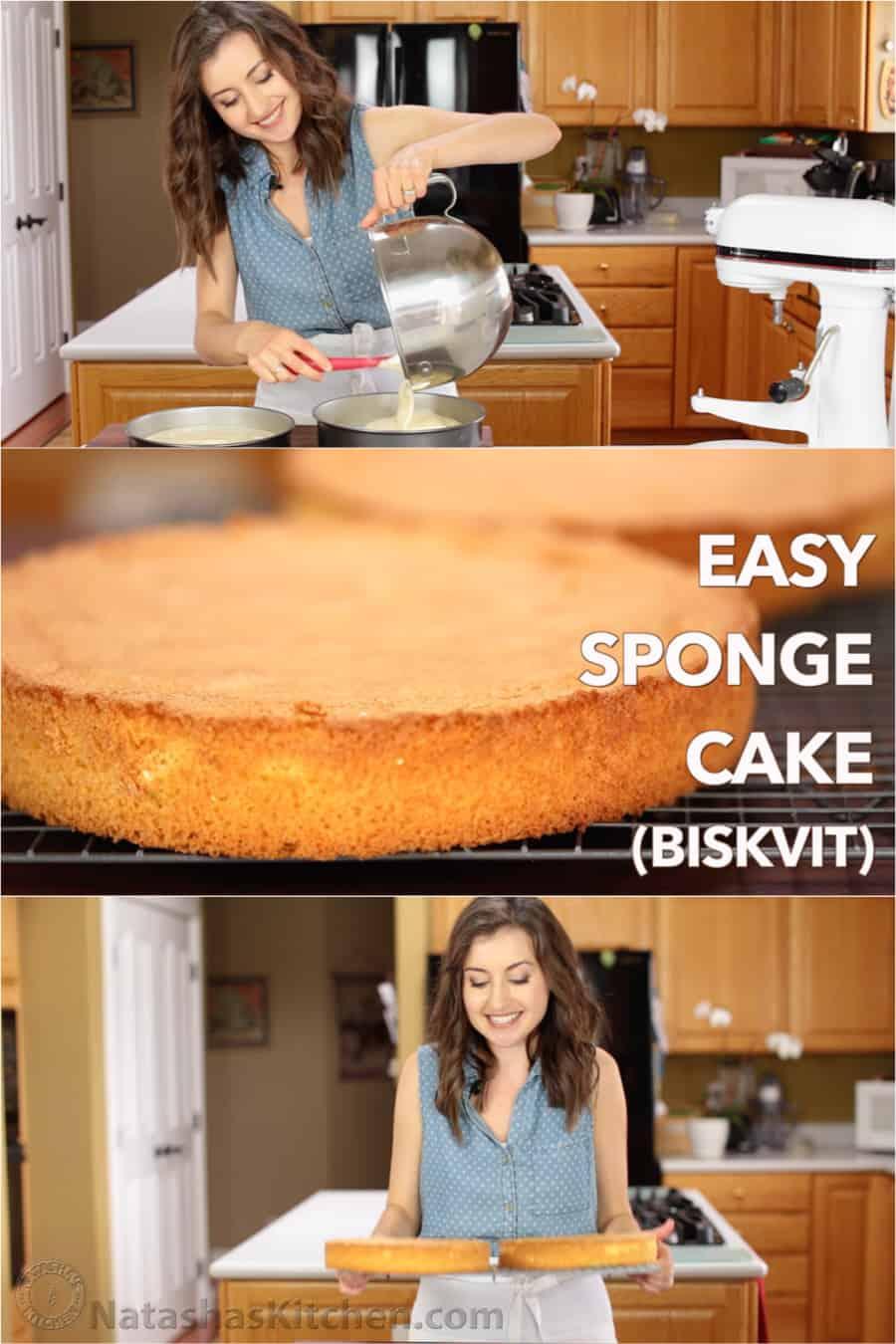 Easy sponge cake recipe classic genoise natasha 39 s kitchen for Natashas kitchen