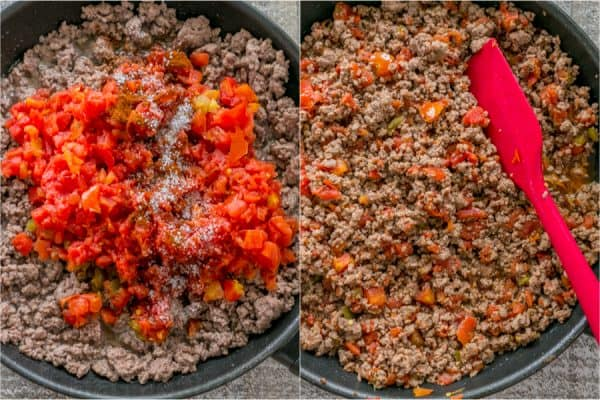 Adding rotel tomatoes and seasonings to ground beef taco meat