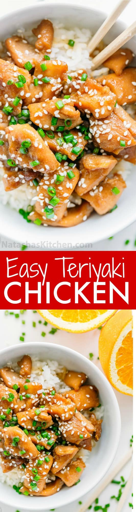This chicken teriyaki easy to make and the sauce is just right. A chicken teriyaki recipe that totally satisfies the craving for takeout, only way better!   natashaskitchen.com