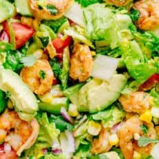 Avocado Shrimp Salad with cilantro dressing mixed together