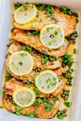 Easy Chicken Piccata with lemons and capers in a dish