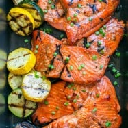 "This grilled maple salmon recipe is a KEEPER! Maple salmon is flaky, juicy and so flavorful! Marina writes ""By far, the BEST salmon recipe I've ever tried"" 