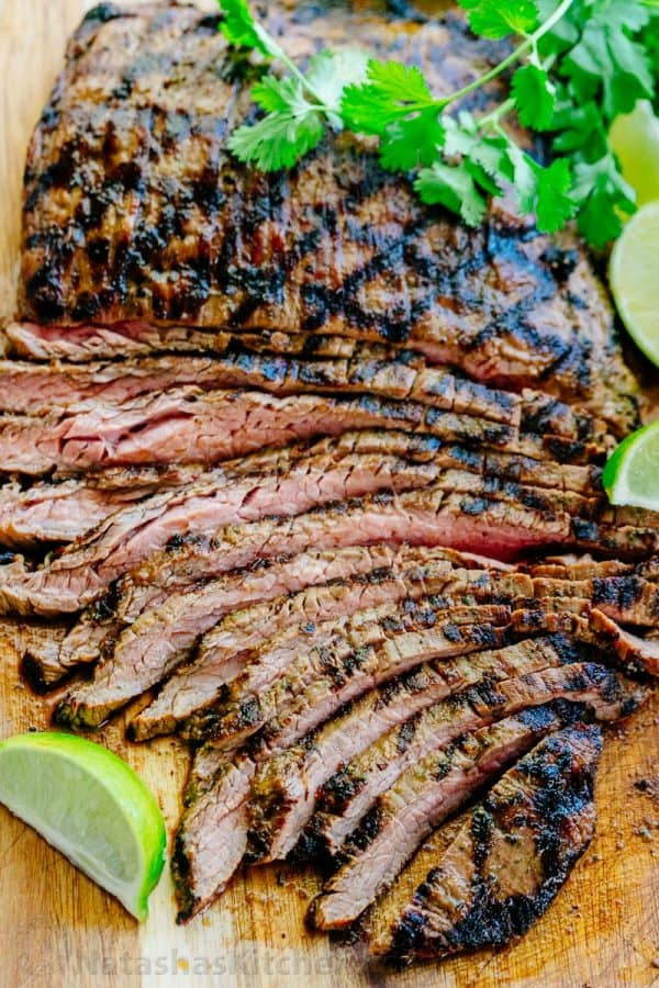 recipe: grilled marinated flank steak with lime-chipotle sauce [39]