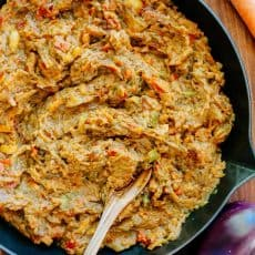 "Authentic sautéed eggplant spread. Baklazhannaia Ikra means ""poor man's caviar."" The ingredients of this eggplant recipe are simple but flavors are spectacular! 