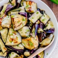 """Spicy eggplant is my all-time favorite eggplant recipe. Hands down. Ogoniok (Огонек) means """"little fire."""" Must-try eggplant recipe from the old country!   natashaskitchen.com"""