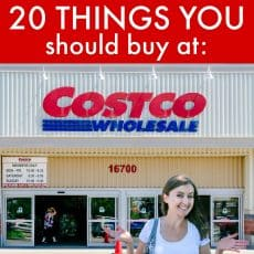 Natasha standing in front of Costco with a label that says 20 things you should buy at: