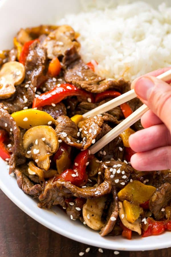 Tender Beef Stir Fry served with white rice