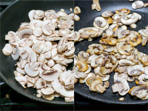 Sautéing mushrooms for beef stir fry