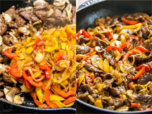combining beef and vegetables in asian beef stir fry