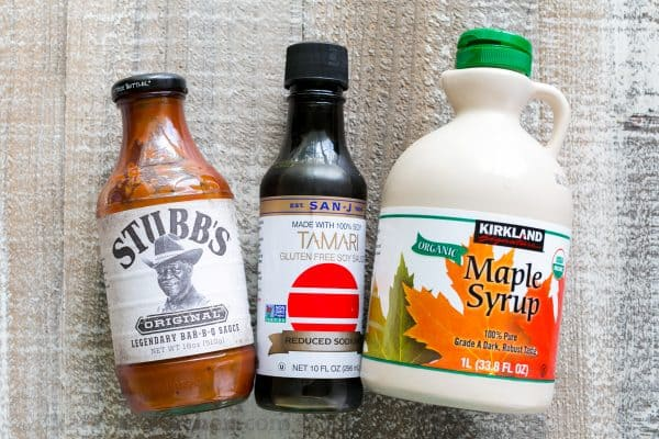 Ingredients for the best beef stir fry sauce with bbq sauce, soy sauce and maple syrup