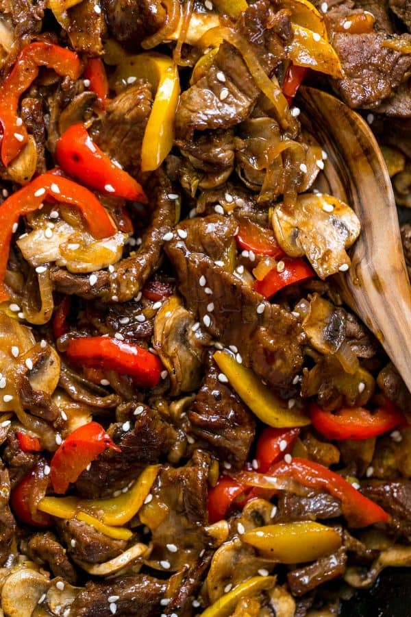 Beef Stir Fry Recipe with Bell Peppers, mushrooms and zucchini and stir fry sauce