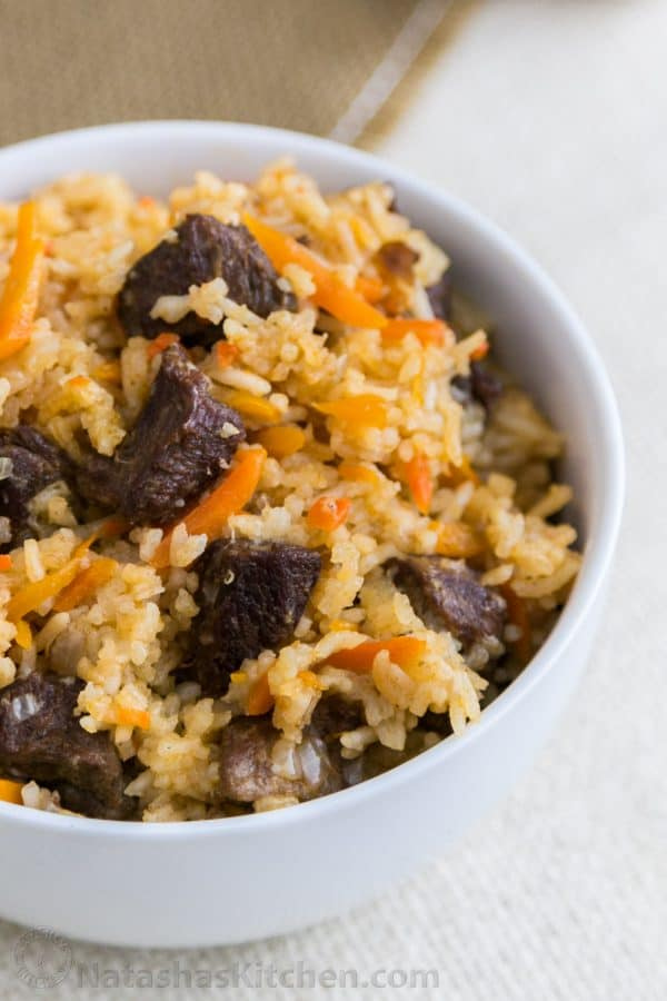 This Beef Rice Pilaf is the best I've tried. This recipe makes a big batch which is great since it reheats really well. Step-by-step photo instructions.