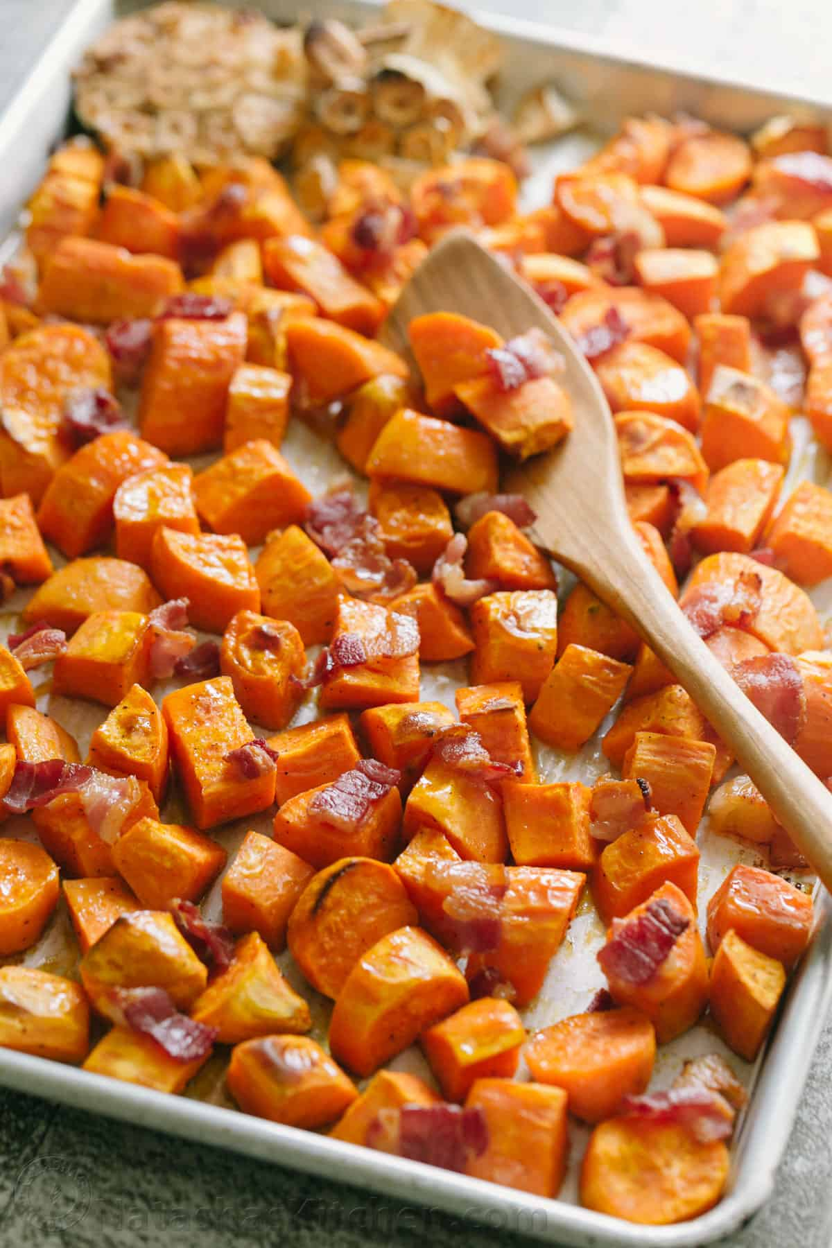 How to roast sweet potato cubes on baking sheet