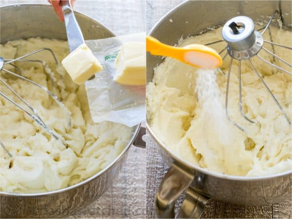 adding butter and salt to mashed potatoes