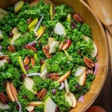 Autumn kale salad recipe with apples and pears