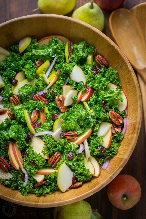 Autumn Kale Salad Recipe is loaded with apples, pears and pecans. The honey-lemon dressing softens kale and makes it so fresh. Easy, excellent kale salad! | natashaskitchen.com