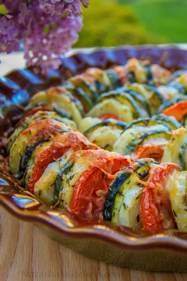 Vegetable Tain in a glass pan