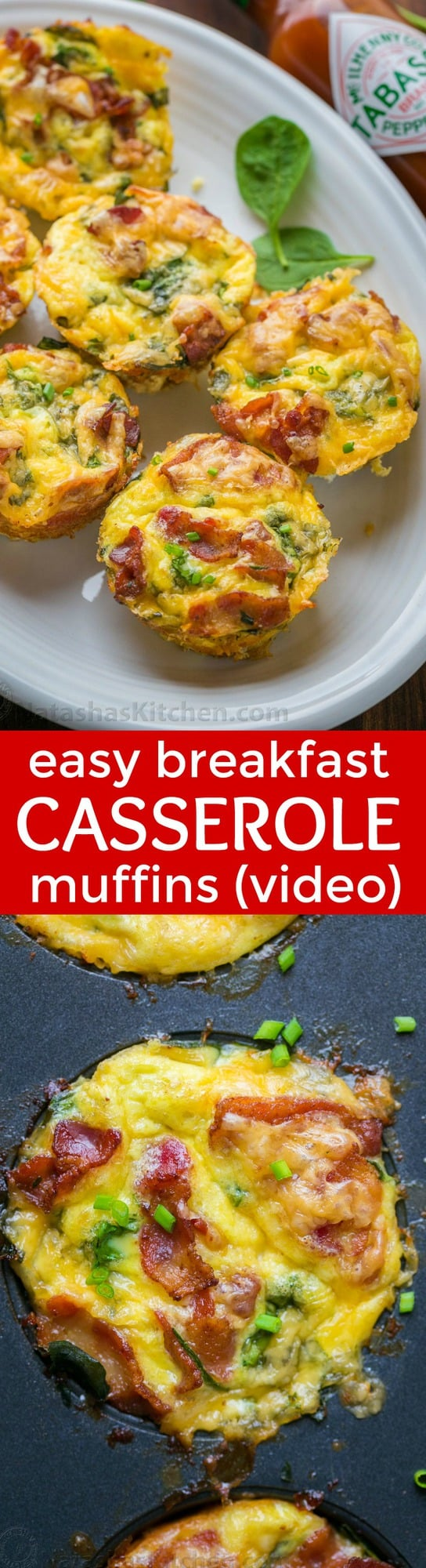 """""""Breakfast casserole muffins come together quickly. Loaded with potato, spinach, eggs, cheese and crisp bacon. Freezer friendly make-ahead breakfast muffins! 