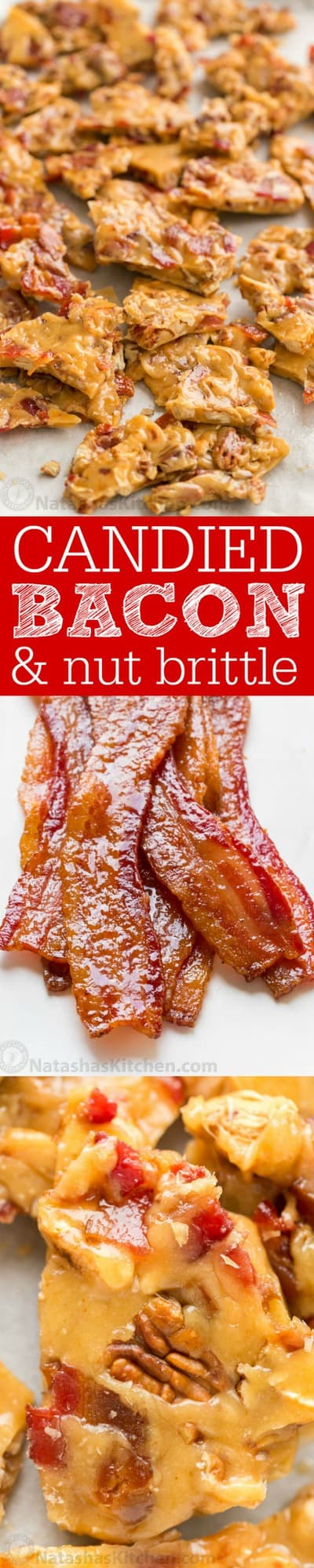 This Candied Bacon Brittle is loaded with nuts and candied bacon. It's unusual but CRAZY GOOD! Candied Bacon Brittle is a wonderful homemade gift idea! | natashaskitchen.com