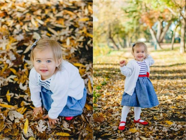 Two photos of a little girl in one she is playing with leaves in one standing