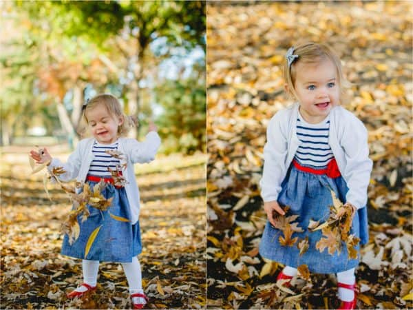 Two photos of a little girl throwing up fall leaves