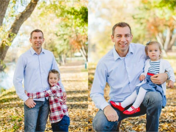 Two photos of a father posing with his son in one and daughter in another
