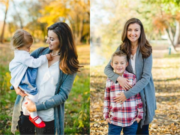 Two photos of Natasha posing with her son in one and her holding her daughter in another photo