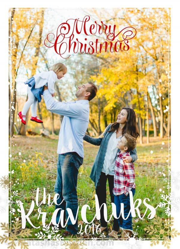A Christmas card with a photo of a family that says Merry Christmas the Kravchuks 2016