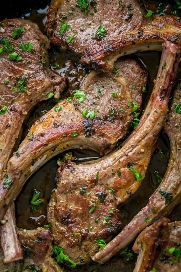 These lamb chops are seared, forming a garlic herb crust. The 2-ingredient pan sauce will completely win you over! Easy, excellent Lam Chops Recipe!   natashaskitchen.com