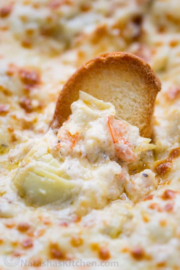 Shrimp Dip appetizer served with crostini