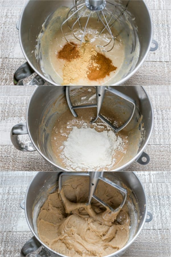 Three photos of batter for soft gingerbread cookies in mixer bowl