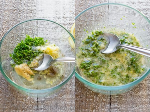 Two photos of bowls with a butter mixture being mixed in them
