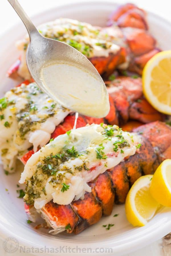 Lobster Tails Recipe with Garlic Lemon Butter - NatashasKitchen.com