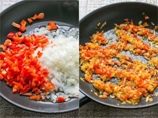 Two photos of red peppers and onions being sautéed
