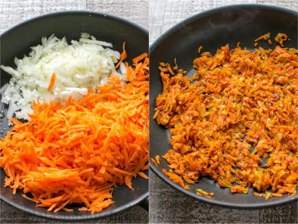 Two photos of carrots and onions being sautéed together in a skillet