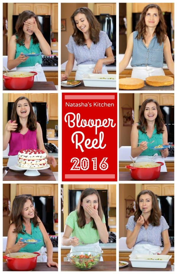 Nine small photos of Natasha Kravchuk and the middle says Blooper Reel 2016