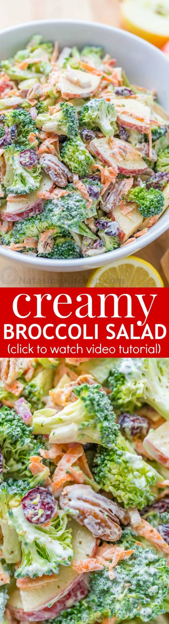 Broccoli Salad Recipe with Creamy Lemon Dressing : NatashasKitchen.com