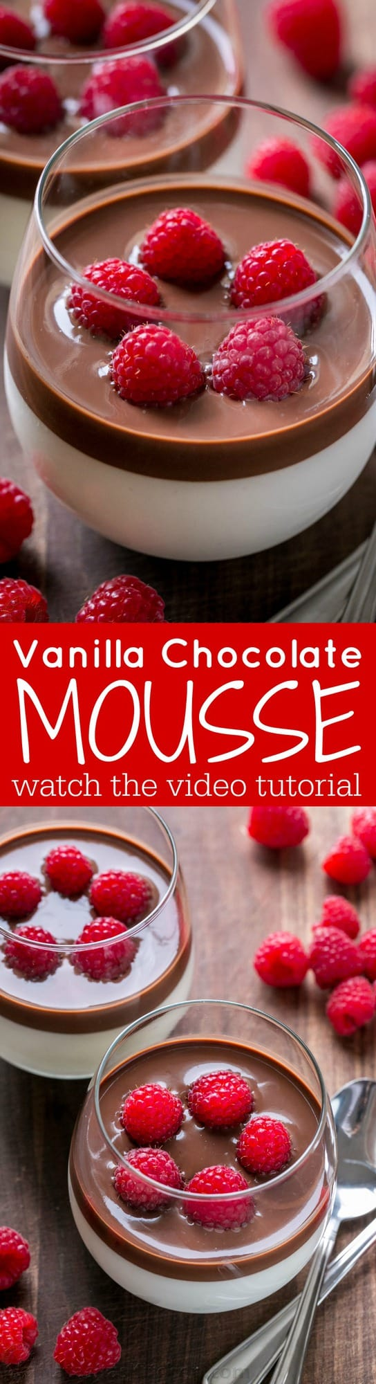 This Vanilla Mousse is an European dessert with creamy base and silky chocolate topping. An elegant vanilla mousse recipe that's surprisingly easy (VIDEO) | natashaskitchen.com