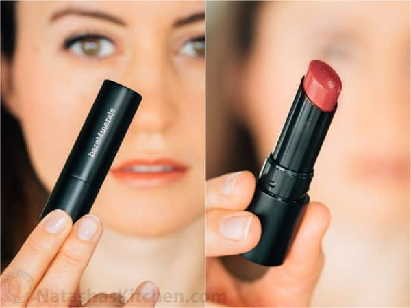 Two photos of Bare Minerals Radiant Lipstick one closed and one open