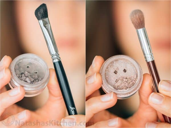 Two photos of different eye shadows and brushes
