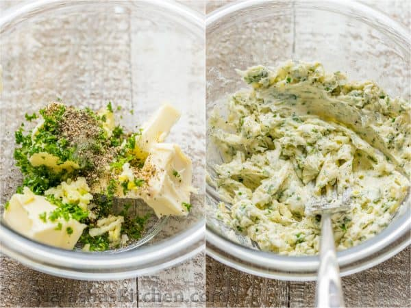 Two photos of a herbed butter mixture in a bowl