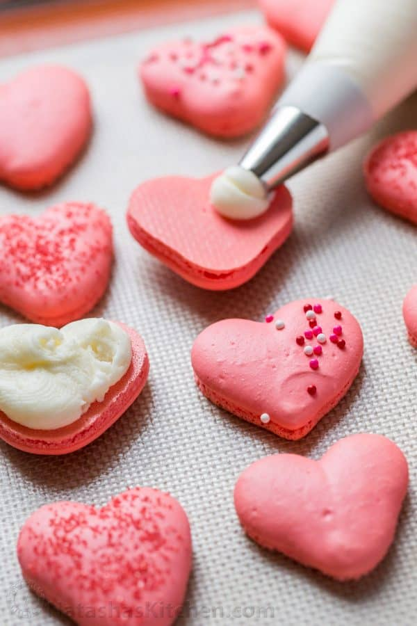 Heart Macarons with Lemon Buttercream (VIDEO) - NatashasKitchen.com