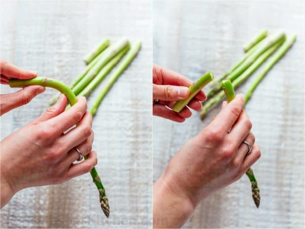 Two photos of asparagus stacks being broken