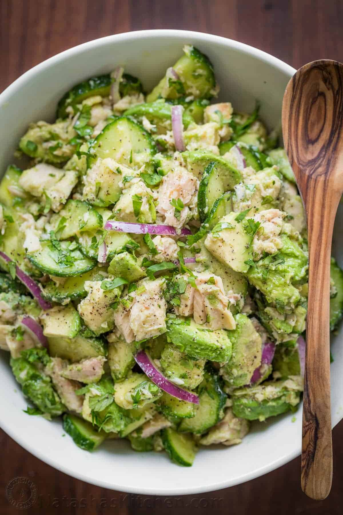 Avocado tuna salad recipe video for Tuna fish salad recipe