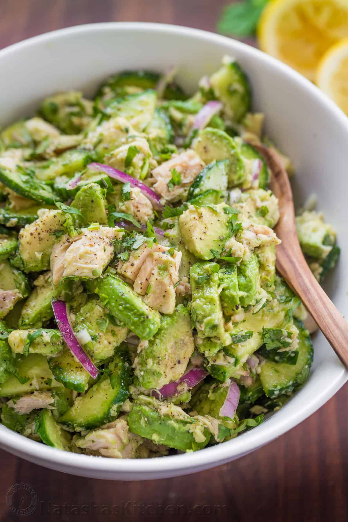 Avocado Tuna Salad Recipe Video Natashaskitchen Com